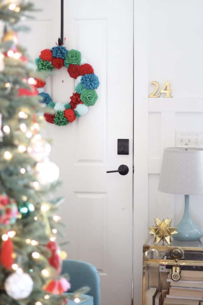 2020 Bright + Fun Christmas Home Tour wreath