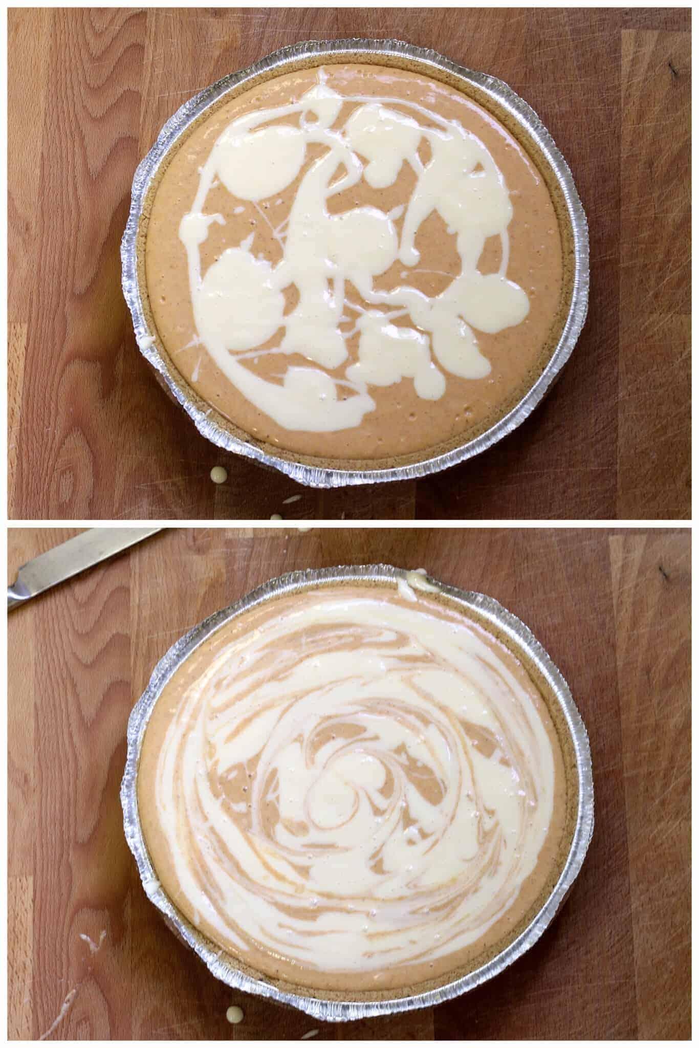 easy pumpkin cheesecake recipe swirling the batter